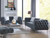 Sofa And Loveseat Velvet Fabric Gray Cushion Couch Comfort Plush Tufted 2Pc Sofa Set Living Room Furniture for Unique Tufted Living Room Furniture
