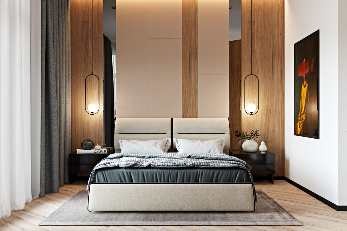 stylish-master-bedroom-with-wood-white-and-mirror-wall-panels