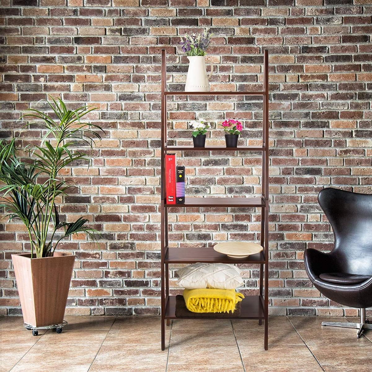 stylish-mid-century-modern-ladder-shelf-design-in-medium-brown-finish