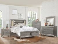 Tamsin Wood/vinyl Led Storage Platfrom Bedroom Set in Bedroom Set Grey