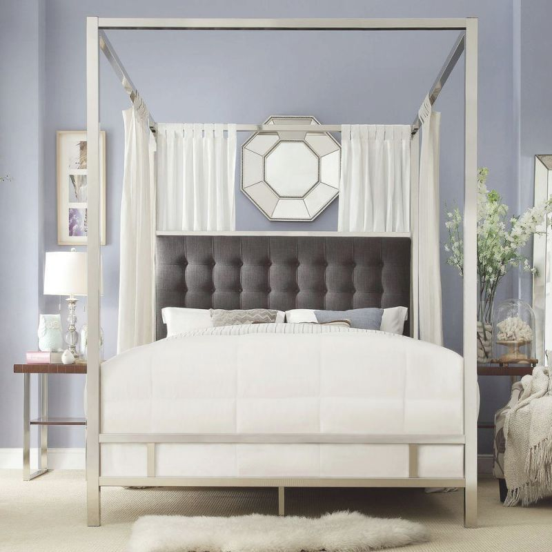 Taraval Chrome King Canopy Bed for Best of King Bed Frame With Headboard