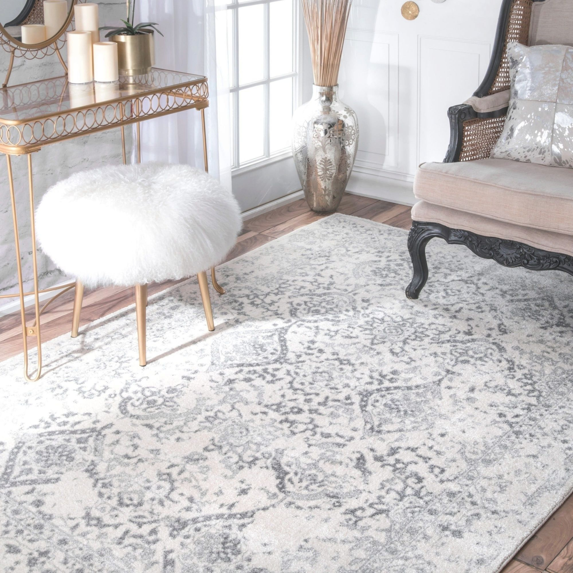 The Gray Barn Black Hill Vintage Floral Ornament Ivory And Grey Rug with regard to Floral Living Room Furniture