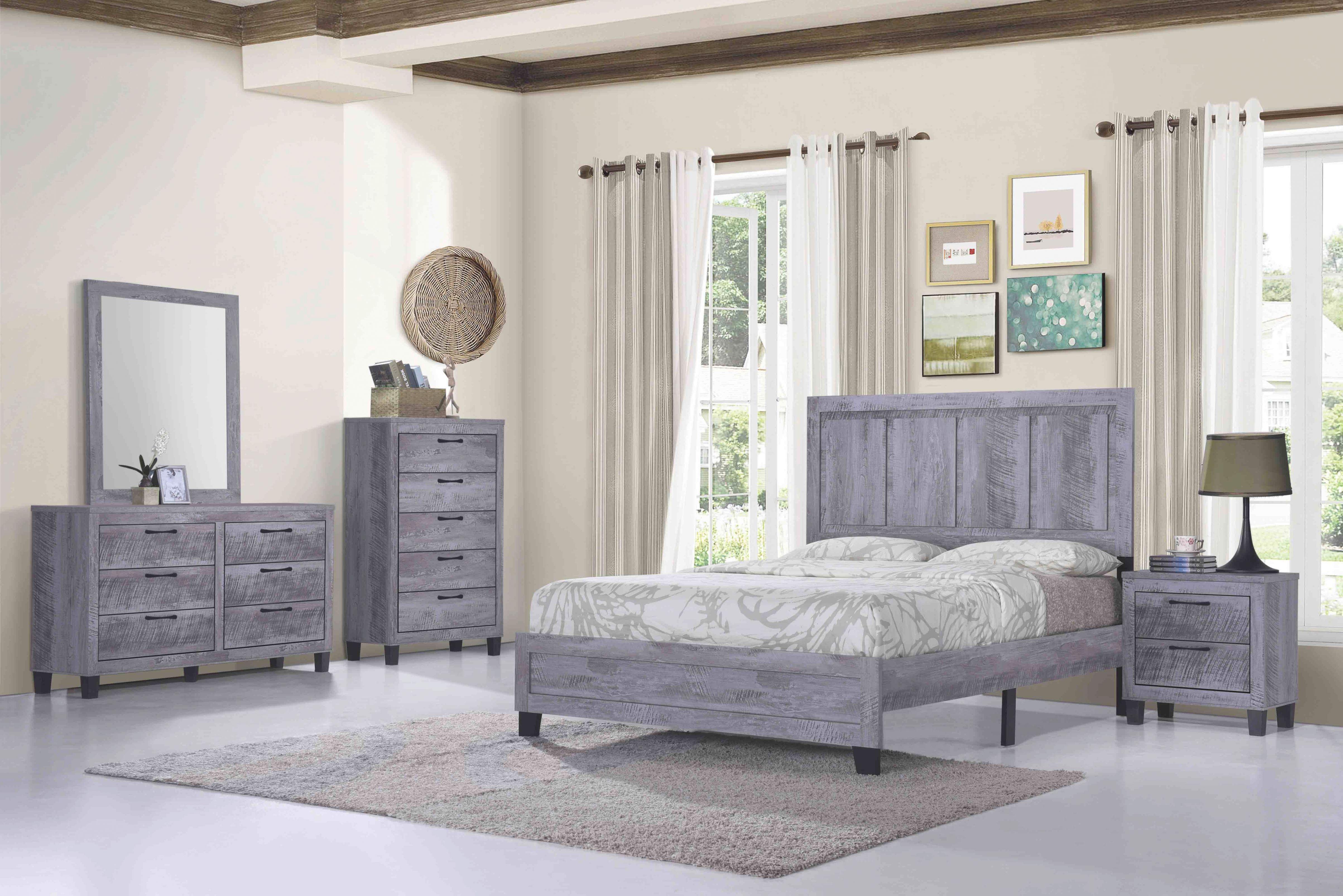 Titanic Furniture Rustic Grey 4 Piece Queen Bedroom Set throughout Bedroom Set Grey