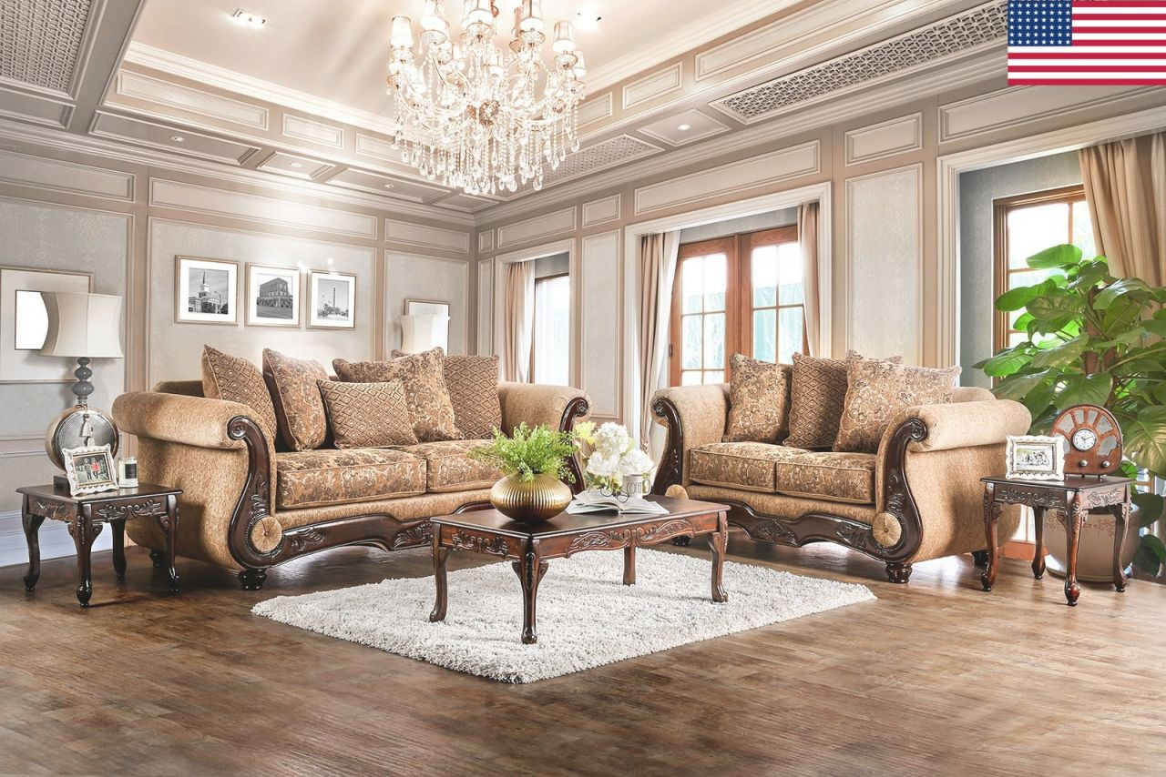Traditional Living Room Furniture 2Pc Sofa Set Gold/bronze Sofa Loveseat Chenille Fabric And Faux Leather Couch Pillows Rolled Arms Usa inside Traditional Living Room Furniture