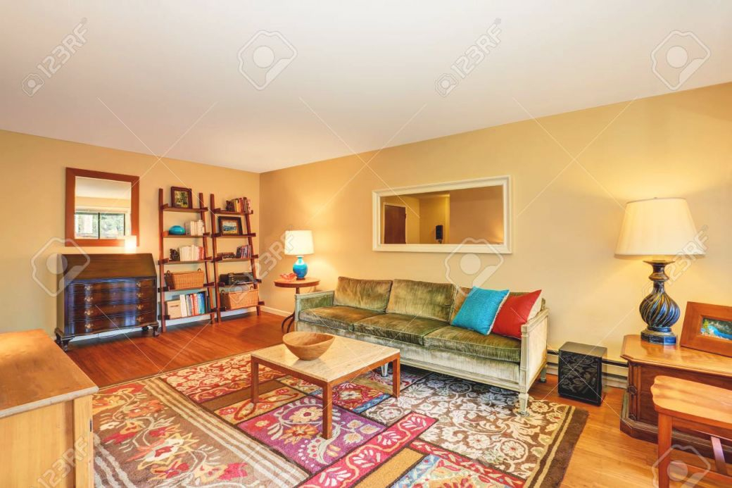 Traditional Living Room Interior With Green Sofa, Hardwood Floor.. intended for New Traditional Living Room Furniture