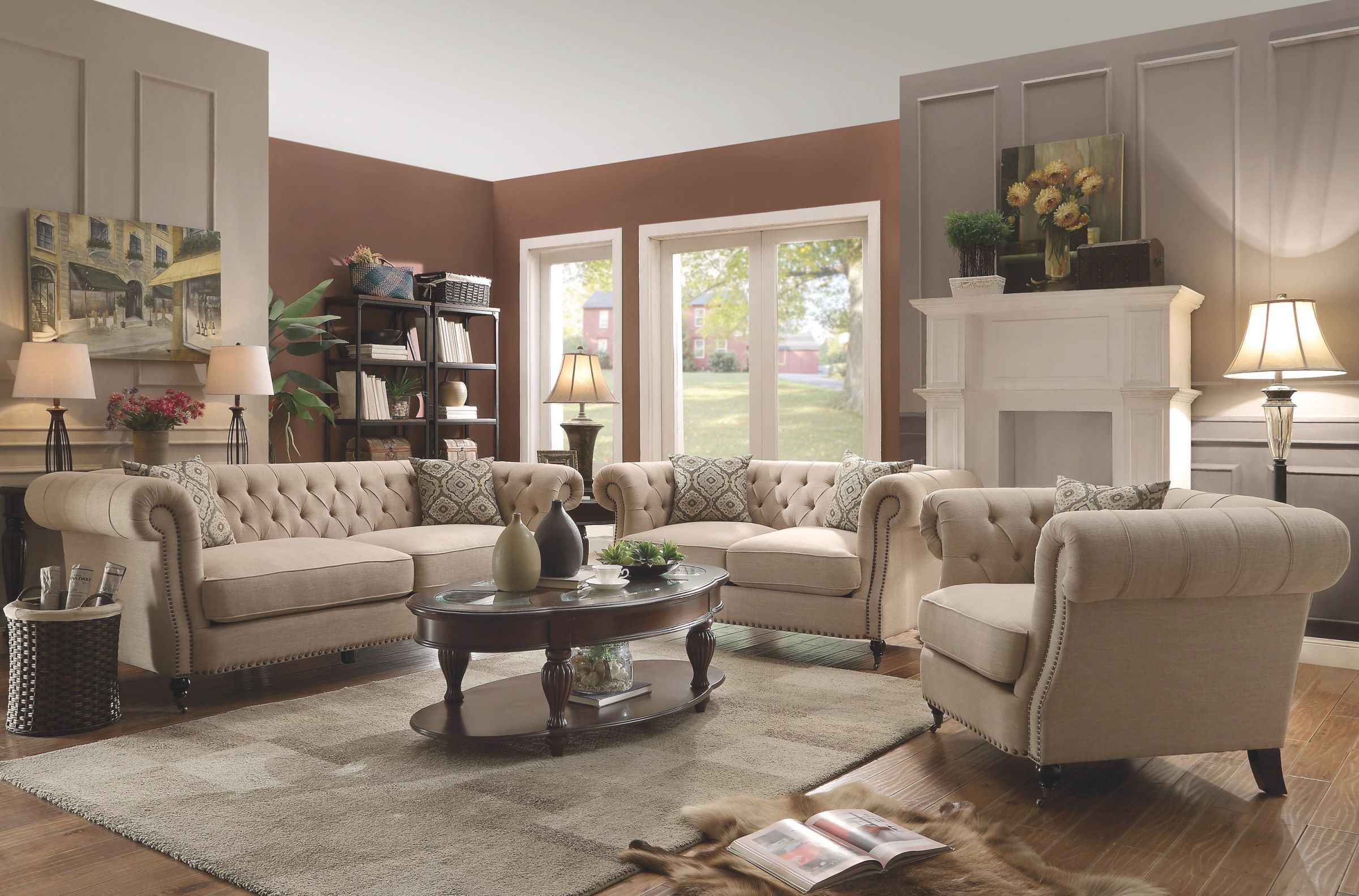Trivellato Traditional Button Tufted Sofa With Large Rolled Arms And Nailheads throughout Tufted Living Room Furniture