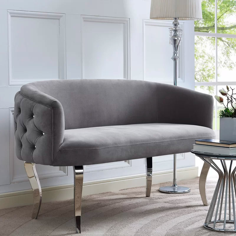 tufted-back-sofa-with-crystal-buttons-and-grey-velvet-upholstery-with-chrome-cabriole-legs