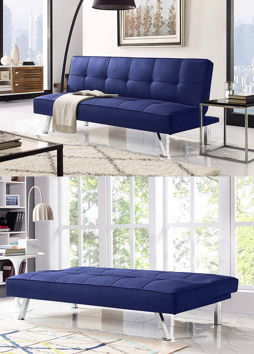 tufted-sleeper-sofa-with-blue-upholstery-and-metal-legs
