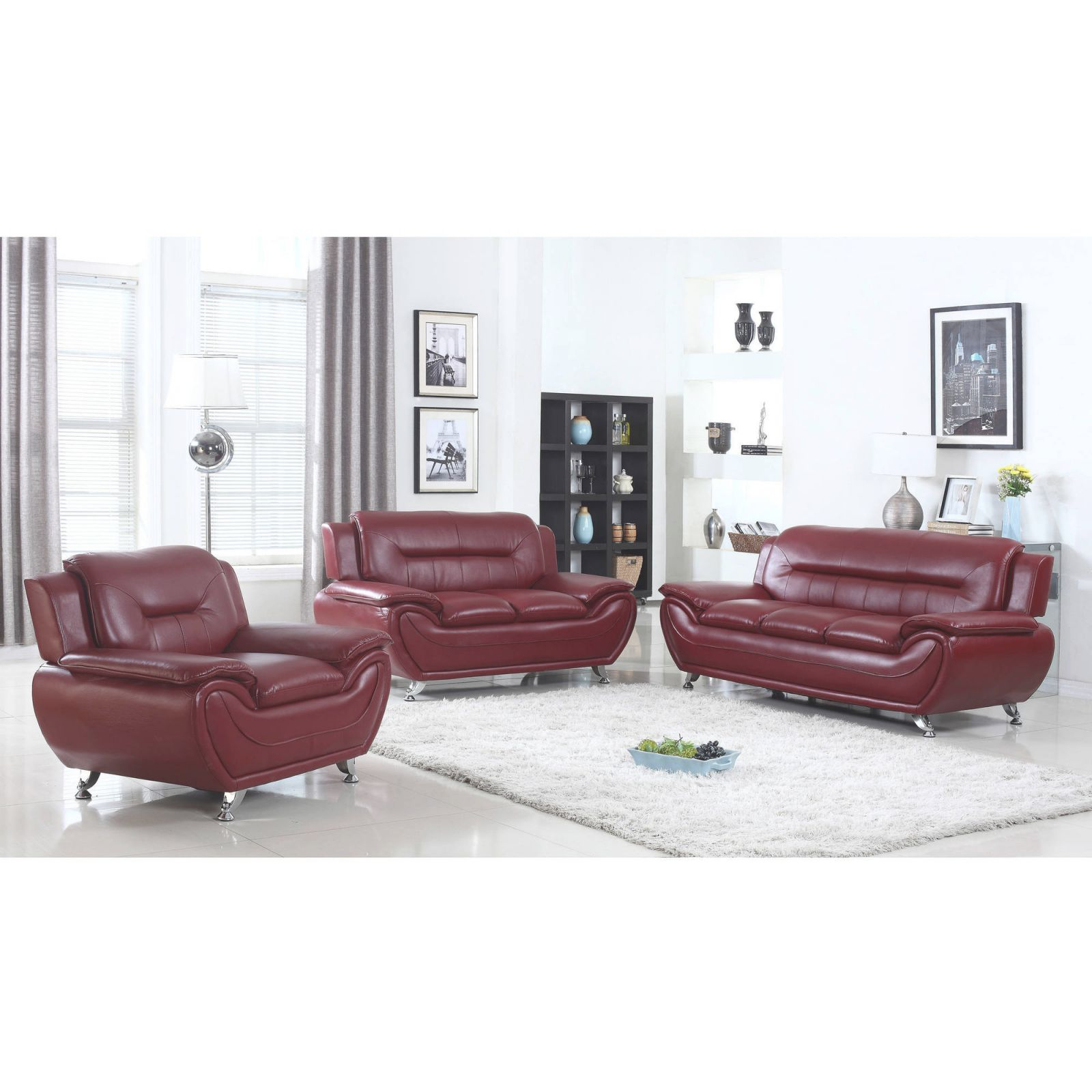 Ufe Norton Burgundy Faux Leather 3-Piece Modern Living Room Sofa Set with regard to Modern Living Room Furniture