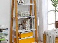 unique-a-frame-ladder-shelf-with-warm-wood-frame-and-white-shelves-four-tier-storage-design