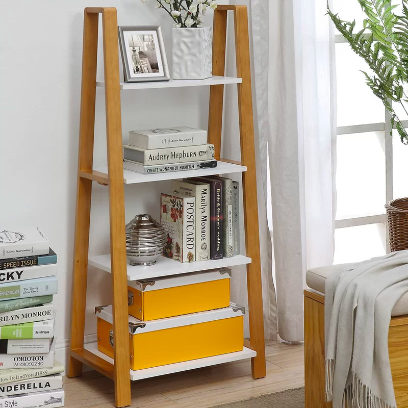 unique-a-frame-ladder-shelf-with-warm-wood-frame-and-white-shelves-four-tier-storage-design