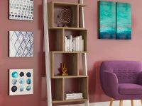 unique-ladder-shelf-bookcase-with-wood-cubbies-on-white-frame
