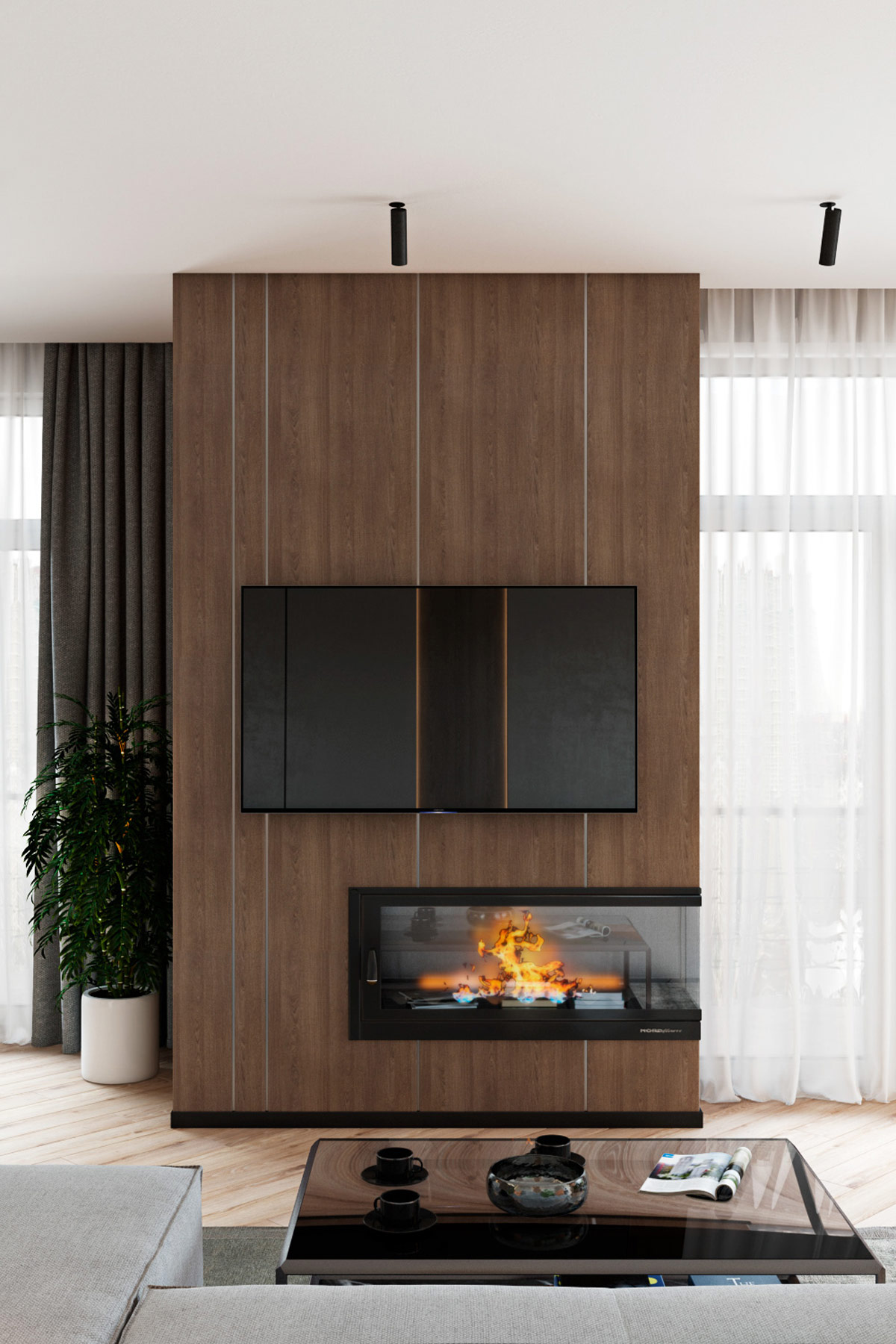 unique-modern-fireplace-design-on-wood-paneled-television-wall-in-contemporary-family-home-interior