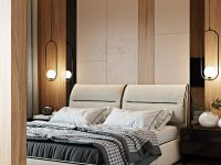 unique-platform-bed-with-bedroom-pendant-lights-on-either-side