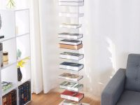 "Us $105.99 |Giantex 59"" Spine Book Tower 11 Shelf Bookcase Media Storage Floating Open Cd Rack Living Room Furniture Hw58544+-In Bookcases From regarding Storage Furniture For Living Room"