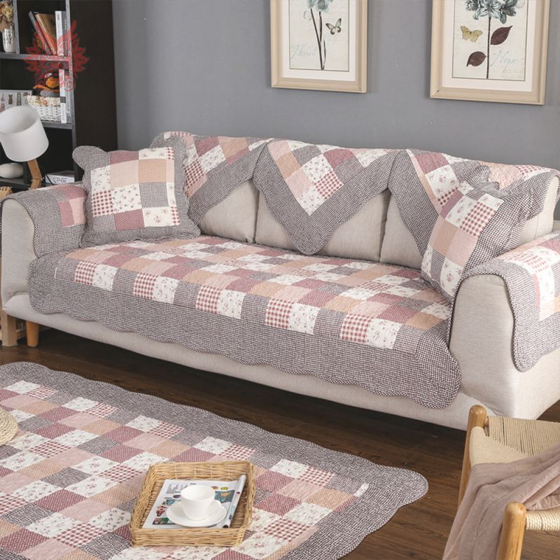 Us $12.72 47% Off|Pastoral Plaid Floral Print Cotton Sofa Cover Quilted Slipcovers For Livingroom Canape Furniture Cover Fundas De Sofa Sp5041-In Sofa throughout New Floral Living Room Furniture