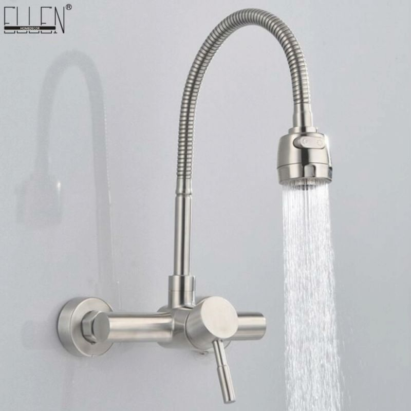 Us $42.78 38% Off|Wall Mounted Kitchen Faucet Hot And Cold Water Mixer Crane Stainless Steel Two Hole Brush Nickel Kitchen Sink Faucets-In Kitchen for Wall Mount Kitchen Faucet