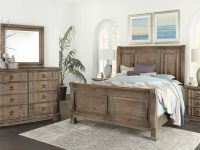 Vaughan-Bassett Rustic Hills Sleigh Bedroom Set In Saddle Grey pertaining to Bedroom Set Grey