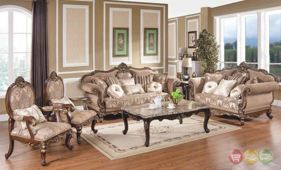 Victorian Traditional Antique Style Sofa Loveseat Chair 3 Piece Living Room Set in Unique Victorian Living Room Furniture