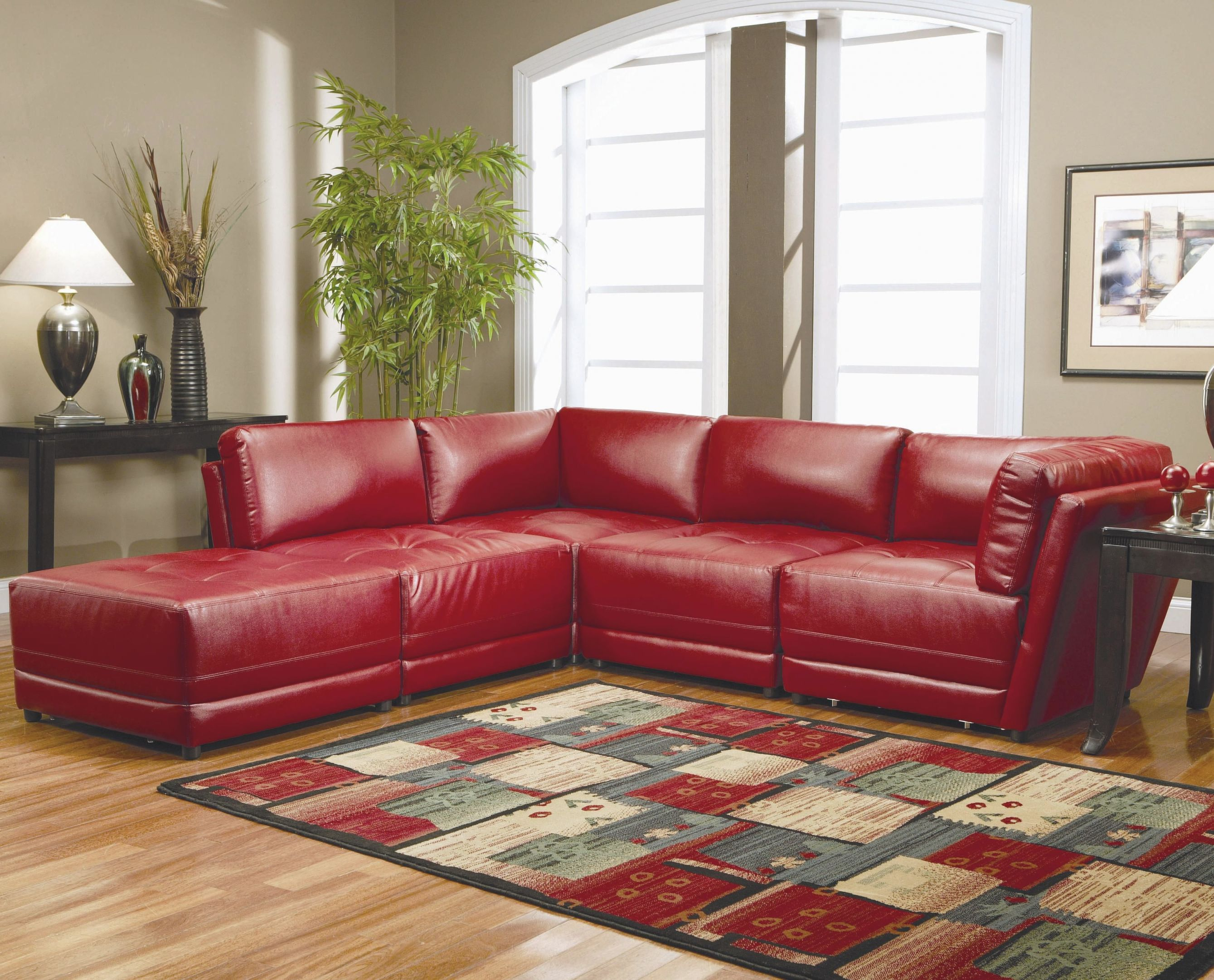 Warm Red Leather Sectional L Shaped Sofa Design Ideas For intended for Luxury Red Leather Living Room Furniture