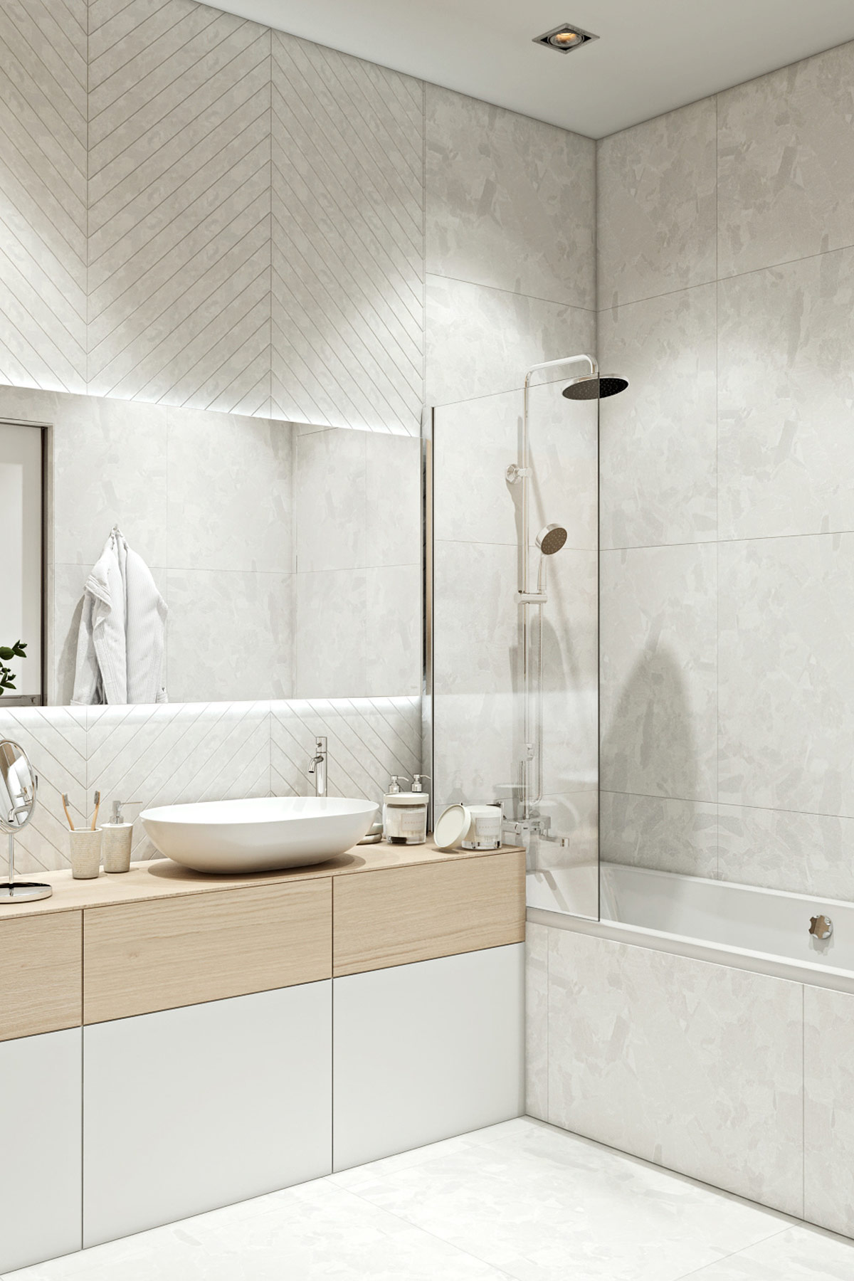 white-and-wood-modern-bathroom-with-rainfall-shower-and-simple-transparent-shower-wall