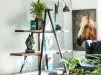 wide-DIY-ladder-shelf-design-with-long-wood-boards-and-black-frame-rustic-industrial-style