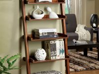 wide-antique-style-ladder-shelf-dark-glossy-wood-finish