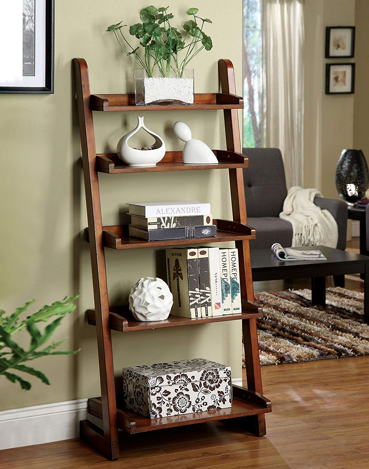 wide-antique-style-ladder-shelf-dark-glossy-wood-finish