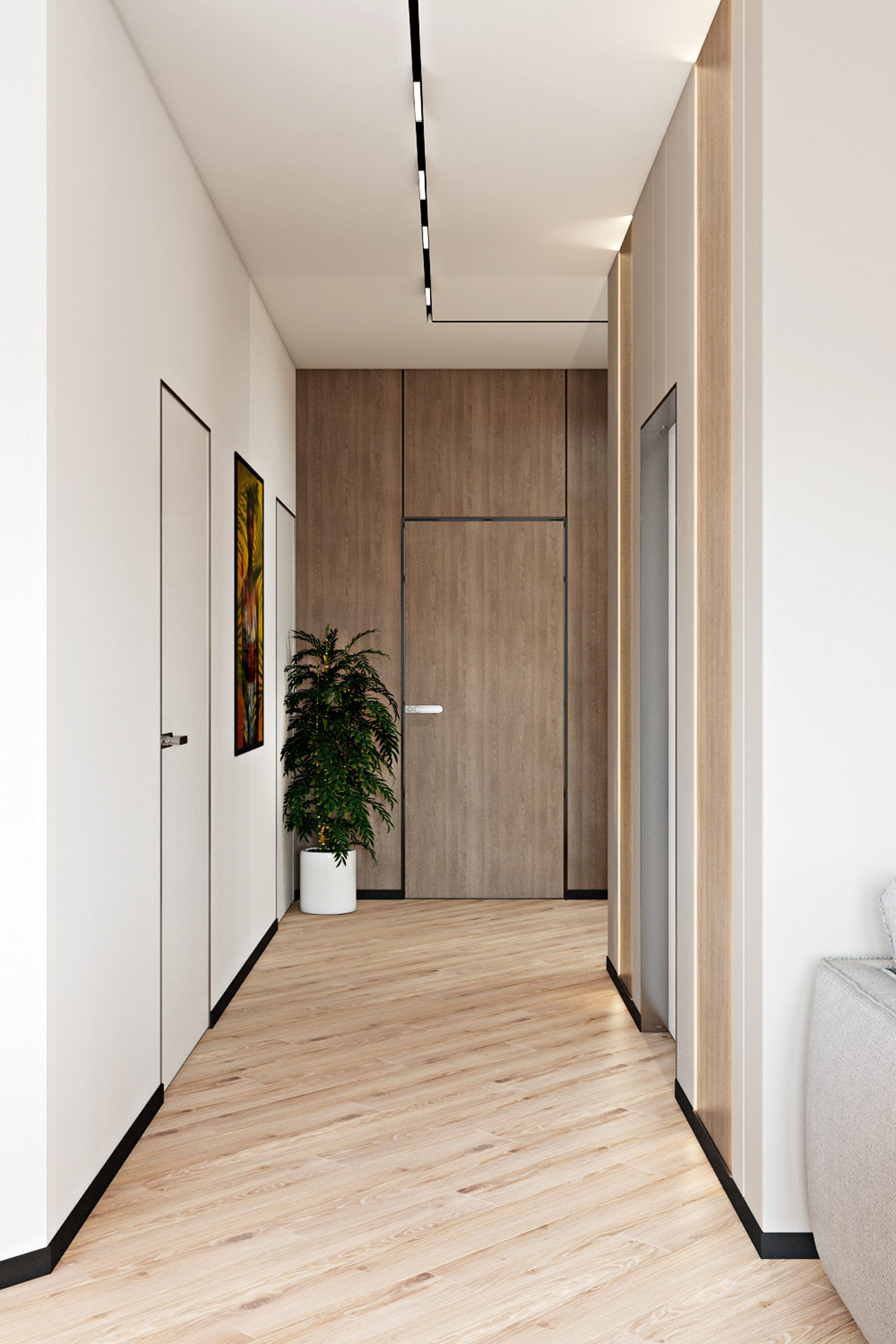 wide-hallway-layout-in-modern-family-home-with-wood-accent-wall