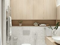 wood-and-white-bathroom-with-ample-cabinets-and-horizontal-open-wall-shelf