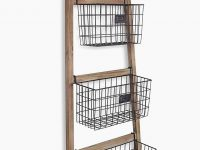 wood-ladder-shelf-with-baskets-metal-wire-for-home-office-or-commercial