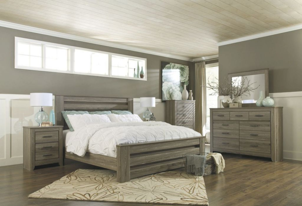 Zelen 4Pc Panel Bedroom Set In Warm Gray intended for Awesome Bedroom Set Grey