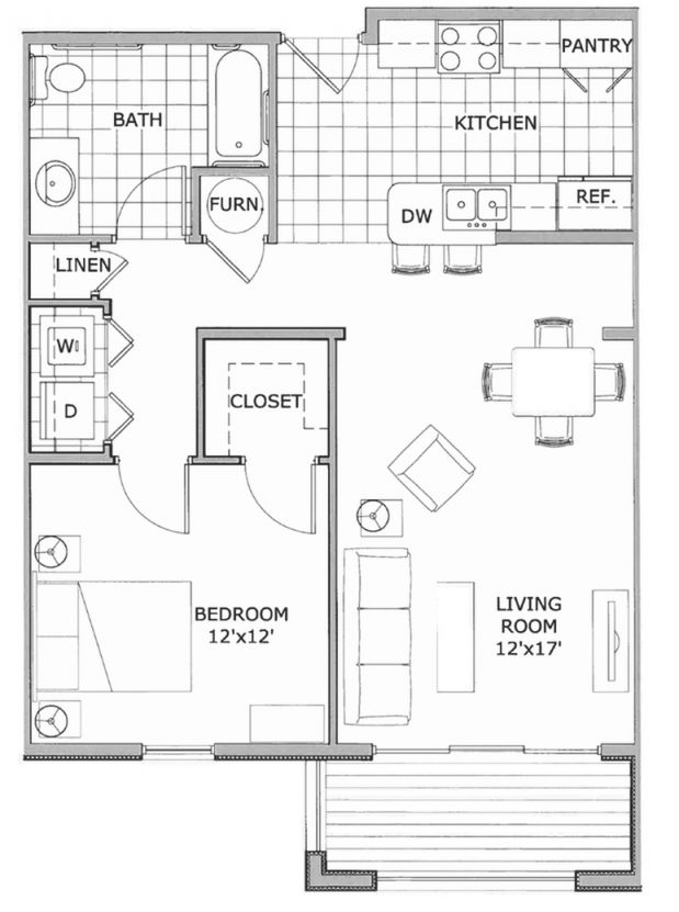 1 Bed / 1 Bath Apartment In Springfield Mo | The Abbey within One Bedroom Apartment Floor Plans