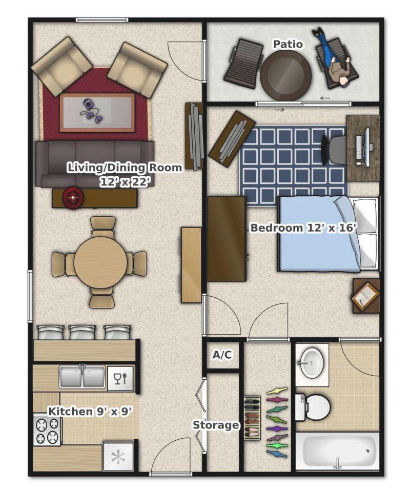 1 Bedroom, 1 Bathroom. This Is An Apartment Floor Plan with regard to Fresh One Bedroom Apartment Floor Plans