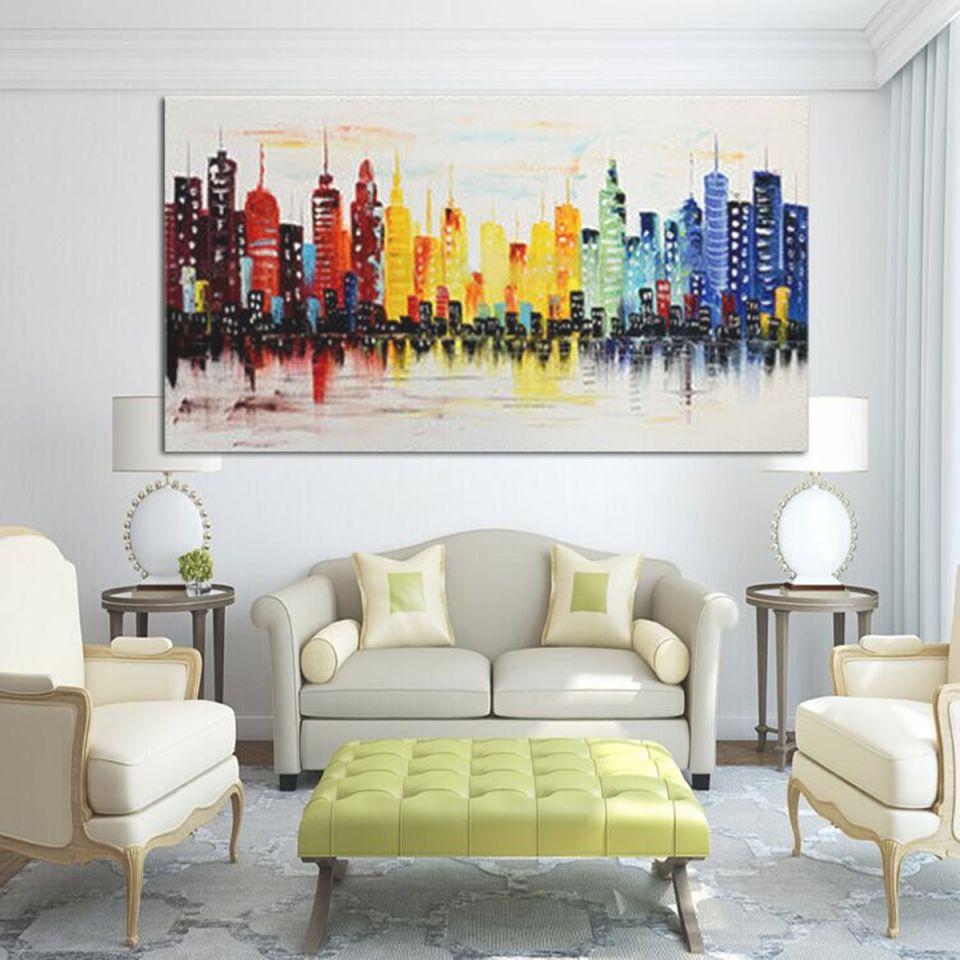 120X60Cm Modern City Canvas Abstract Painting Print Living Room Art Wall Decor No Frame regarding New Modern Wall Decor For Living Room