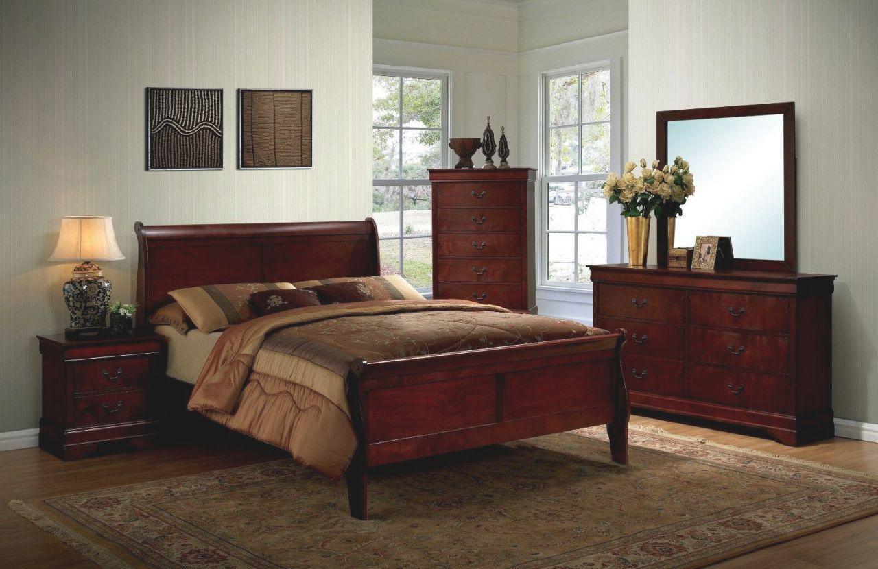 1Pc Full Size Master Bedroom Furniture Set Solid Wood Veneer Cherry Finish Bed regarding Full Size Bedroom Furniture Sets