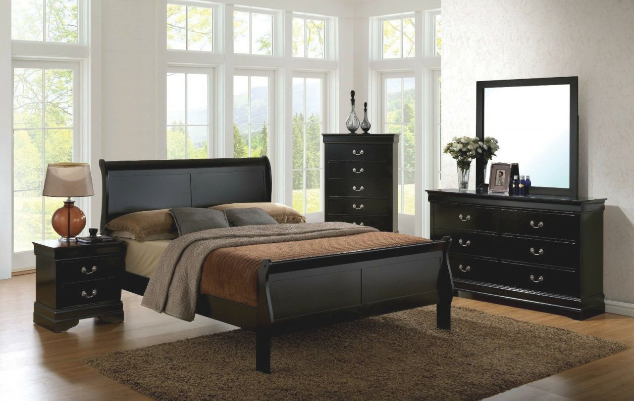 1Pc Queen Size Master Bedroom Furniture Set Solid Wood Veneer Black Finish  Bed inside Beautiful Queen Size Bedroom Furniture Sets