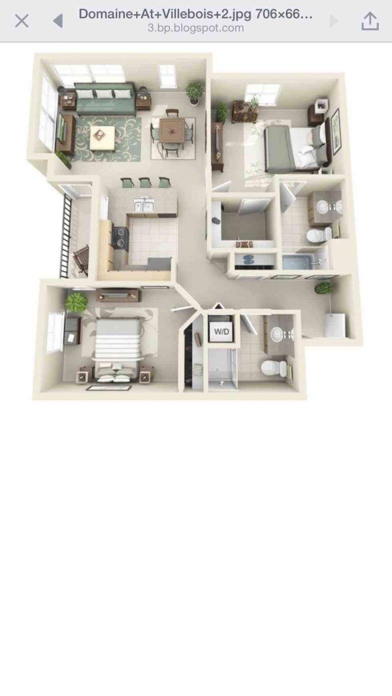 2 Bedroom Apartment Floor Plan 3D – One Bedroom Apartments throughout Fresh One Bedroom Apartment Floor Plans