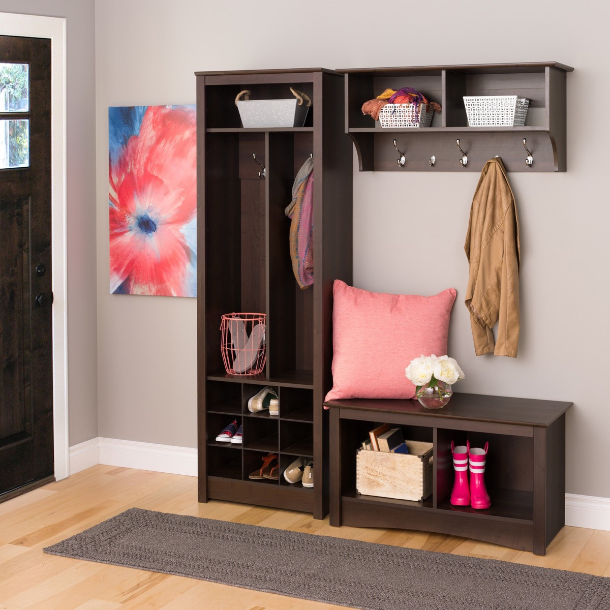 3-Piece-Big-Entryway-Bench-And-Shelf-Set-Dark-Brown-With-Shelves-And-Storage