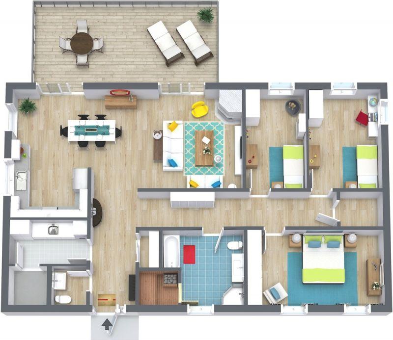 3 Bedroom Floor Plans | Roomsketcher with Three Bedroom Apartment