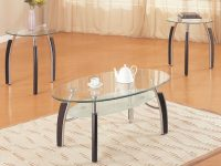 3 Pc Coffee Table Set (F3077) in 3 Piece Glass Coffee Table Set
