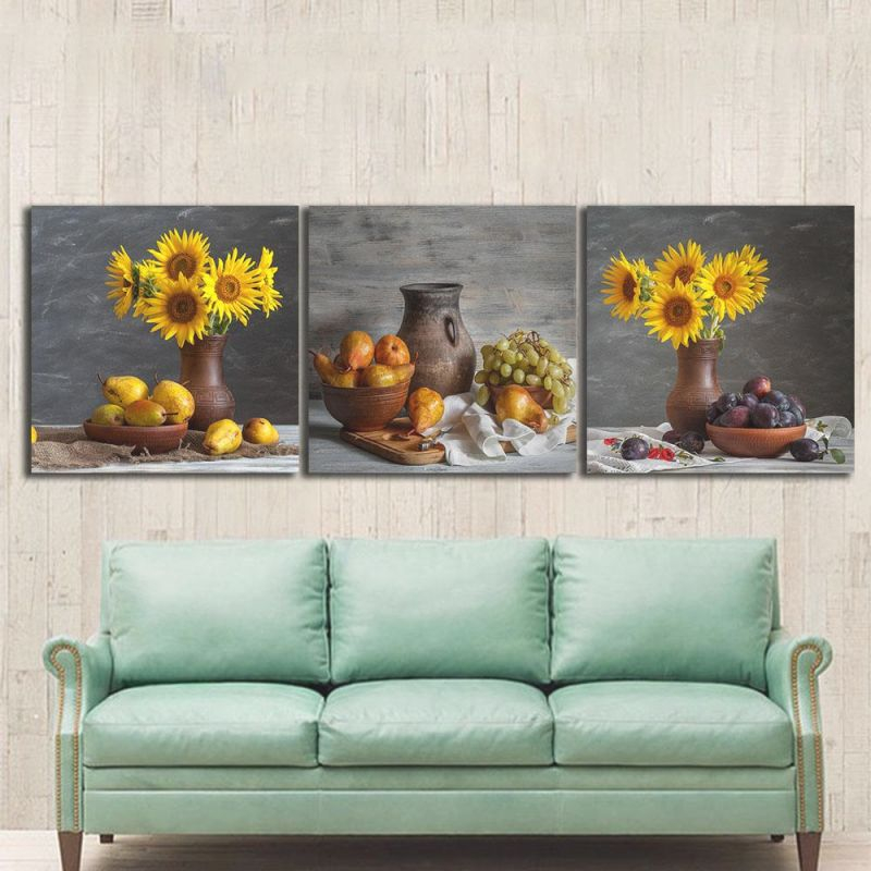 3Pcs Still Life Sunflowers Paintings For The Kitchen Fruit Wall Decor Modern Canvas Art Wall Pictures For Living Room No Frame regarding New Modern Wall Decor For Living Room