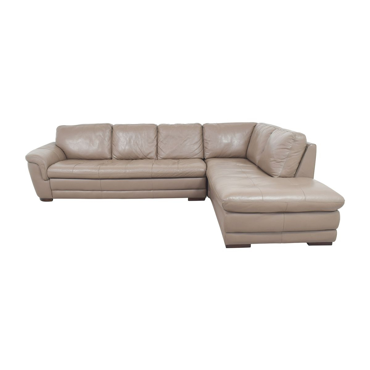 74% Off – Raymour & Flanigan Raymour & Flanigan Tan Tufted Leather Sectional / Sofas intended for Raymour And Flanigan Sectional Sofas