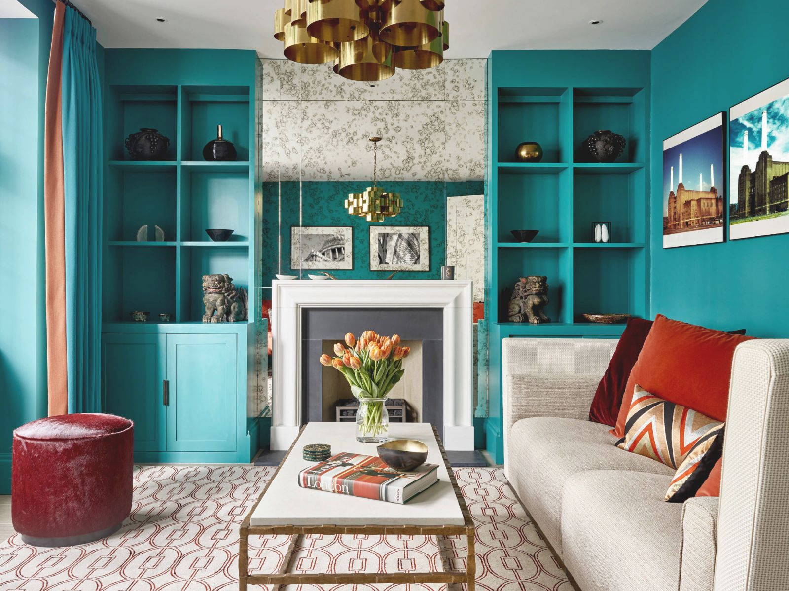 75 Beautiful Turquoise Living Room Pictures & Ideas | Houzz intended for Turquoise Living Room Furniture