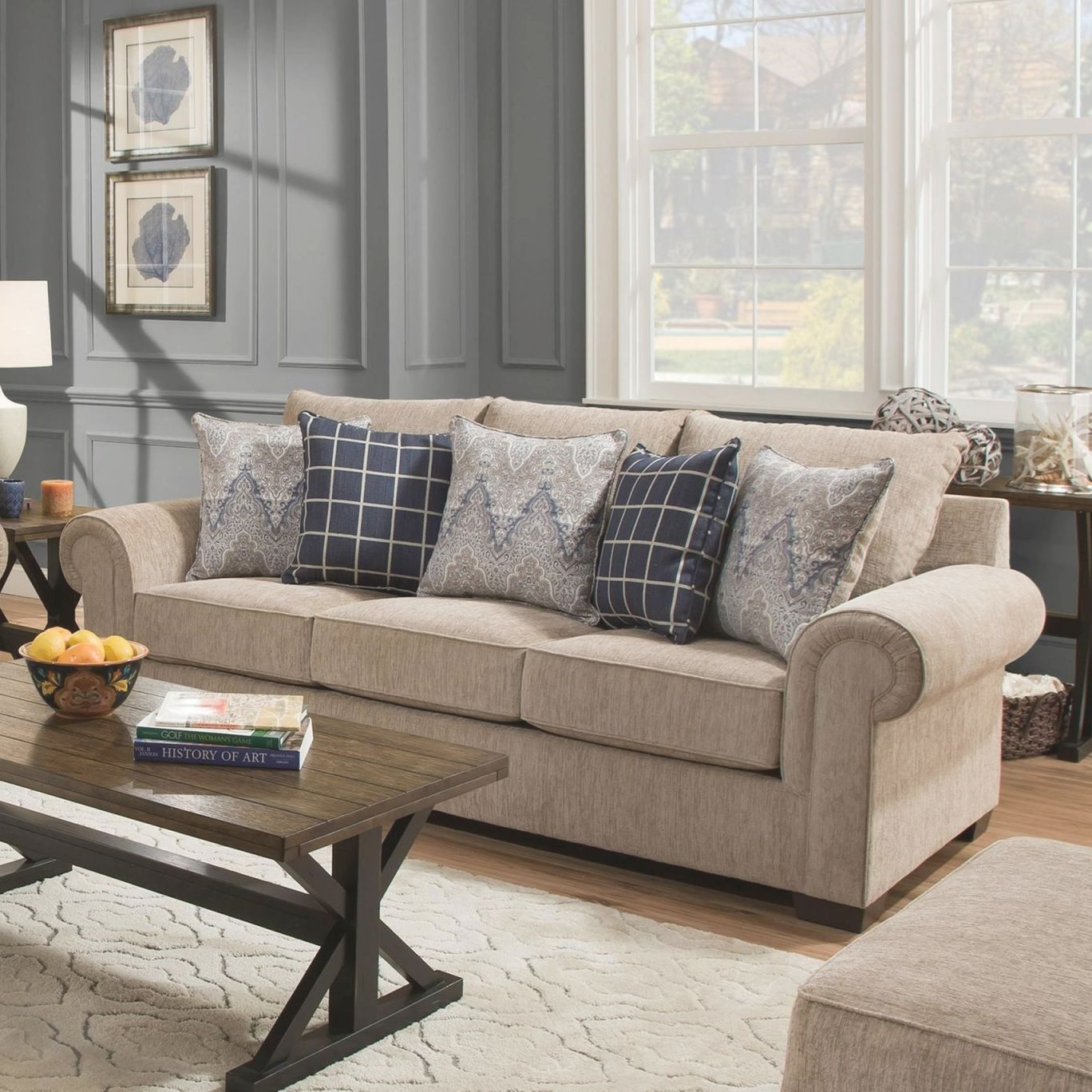 7592Br Transitional Sofa With Rolled Armsunited Furniture Industries At Pilgrim Furniture City with regard to Best of Transitional Living Room Furniture