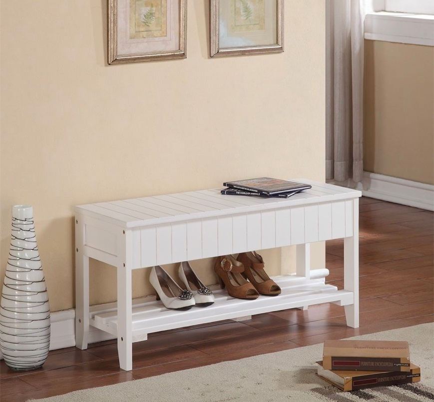 All-White-Entryway-Bench-Wood-Slated-With-Bottom-Shelf-And-Flip-Top-Storage