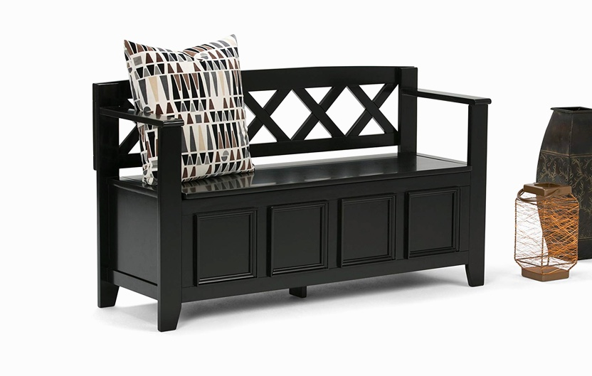 Black-Entryway-Bench-With-Black-Finish-Arms-And-Flip-Top-Storage