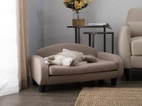 Cat-Sofa-Bed-Tan-Fabric-Couch-Shaped-Round-Edges-Modern-Unique-Stylish
