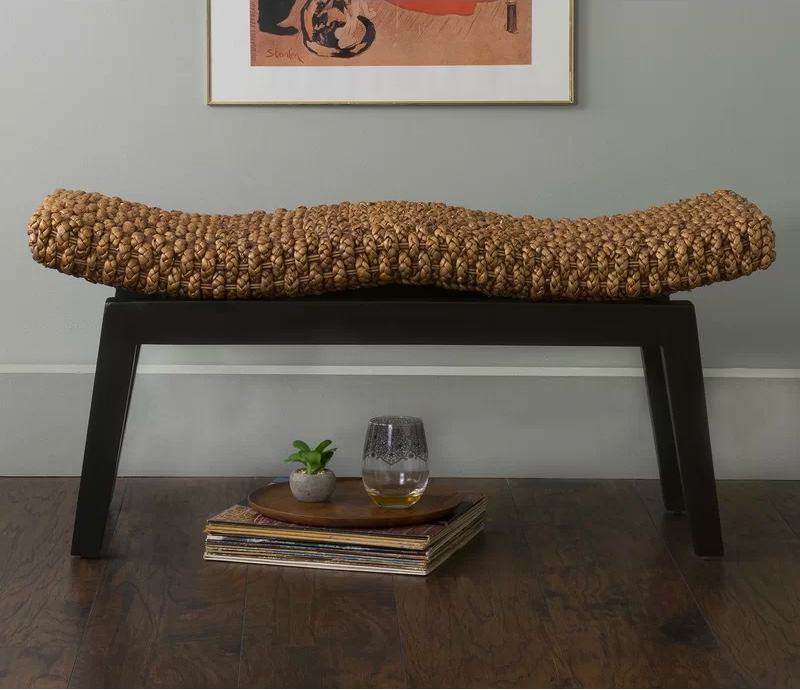 Curved-And-Wavy-Woven-Entryway-Bench-With-Thick-Black-Legs-Natural-Organic