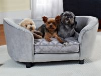 Dog-Sofa-Bed-Shaped-Like-Couch-Light-Grey-Fabric-Soft-For-Small-Dogs